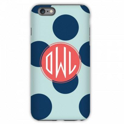 Monogrammed iPhone Case Polka Dot   Electronics > Communications > Telephony > Mobile Phone Accessories > Mobile Phone Cases