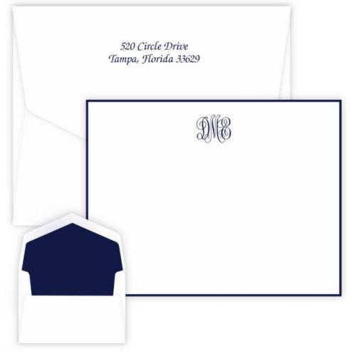 Embossed Graphics Personalized Delavan Monogram Border Card with Raised Ink  Office Supplies > General Supplies > Paper Products > Stationery