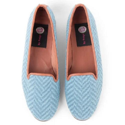By Paige Woman's Blue Herringbone Needlepoint Loafers  Apparel & Accessories > Shoes > Loafers