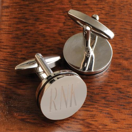 Monogrammed Silver Cufflinks Pin Stripe Engraved Cufflinks Pin Stripe  Apparel & Accessories > Jewelry > Cufflinks