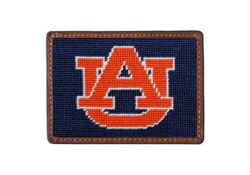 Smathers and Branson Auburn University Needlepoint Card Leather Wallet Auburn Needlepoint Card Wallet Apparel & Accessories > Clothing Accessories > Wallets & Money Clips