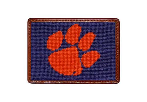 Smathers and Branson Clemson University Needlepoint Card Leather Wallet Clemson Needlepoint Card Wallet Apparel & Accessories > Clothing Accessories > Wallets & Money Clips