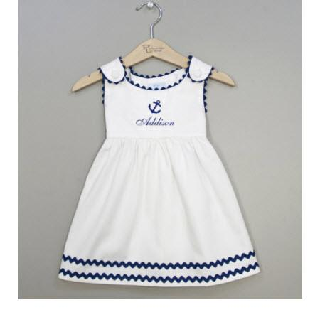 Monogrammed Pique White and Navy Anchor Dress   Apparel & Accessories > Clothing > Baby & Toddler Clothing > Baby & Toddler Dresses