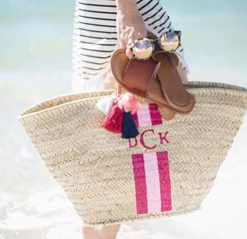 Monogrammed Straw Beach Tote French Inspired  Apparel & Accessories > Handbags > Tote Handbags
