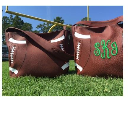 Monogrammed Football Purse Perfect For A Football Mom  Apparel & Accessories > Handbags > Tote Handbags