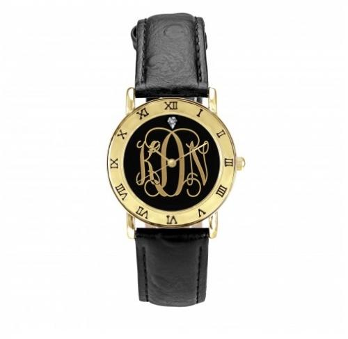 Monogrammed Ladies Watch in  Black and Gold  Apparel & Accessories > Jewelry > Watches