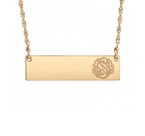 Monogrammed Bar Necklace with Engraved Initials  Apparel & Accessories > Jewelry > Necklaces