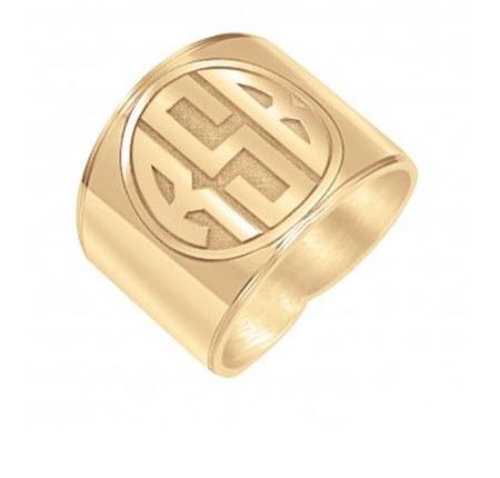 Monogrammed Ring with Recessed Block Initial   Apparel & Accessories > Jewelry > Rings
