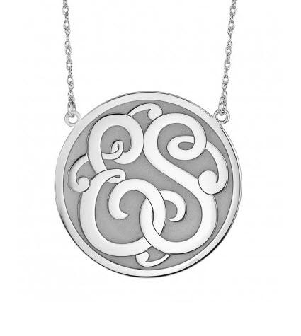Monogrammed Necklace with Double Initials in Recessed Classic Style  Apparel & Accessories > Jewelry > Necklaces