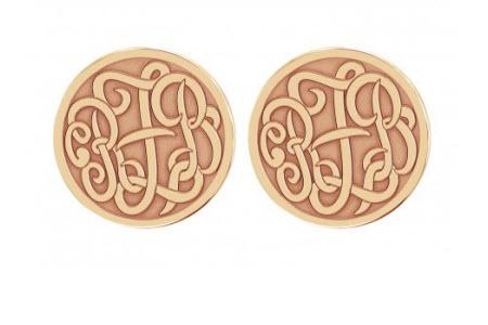 Monogrammed Earring Studs in Classic Recessed Style   Apparel & Accessories > Jewelry > Earrings