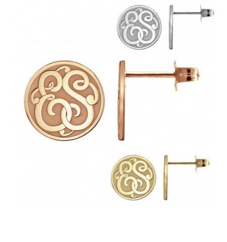 Monogrammed Earrings with Double Initials Recessed in Classic Style   Apparel & Accessories > Jewelry > Earrings