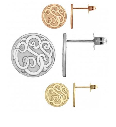 Monogrammed Earring Studs in Classic Style with Three Initials   Apparel & Accessories > Jewelry > Earrings