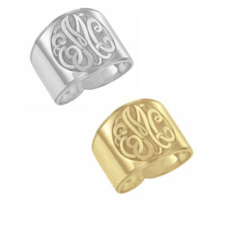 Monogrammed Ring in Recessed Classic Style   Apparel & Accessories > Jewelry > Rings