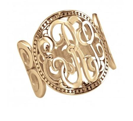 Monogrammed Ring Band in Classic Design  Apparel & Accessories > Jewelry > Rings
