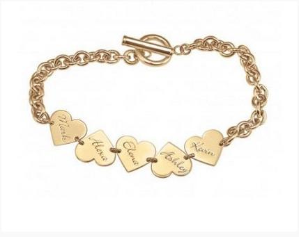 Personalized Bracelet with Engraved Names On Hearts  Apparel & Accessories > Jewelry > Bracelets