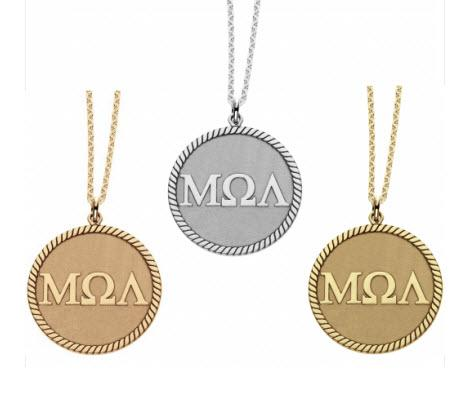 Personalized Necklace with Greek Letters on Disc  Apparel & Accessories > Jewelry > Necklaces