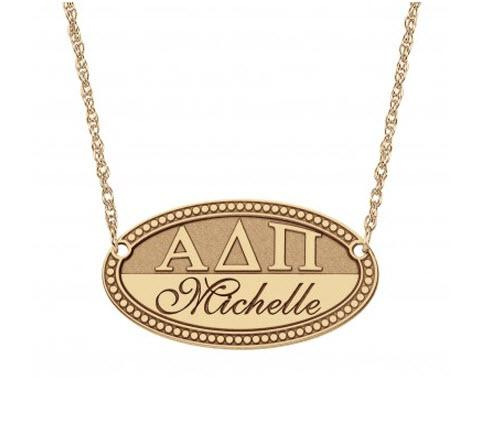 Personalized Monogrammed Necklace Oval with Greek Letters Name Plate   Apparel & Accessories > Jewelry > Necklaces