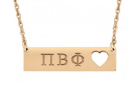 Monogrammed Necklace Greek with Cutout Heart on Solid Bar  Apparel & Accessories > Jewelry > Necklaces