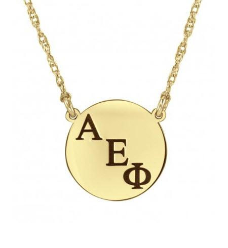 Monogrammed Necklace with Greek Initials on Round Charm   Apparel & Accessories > Jewelry > Necklaces