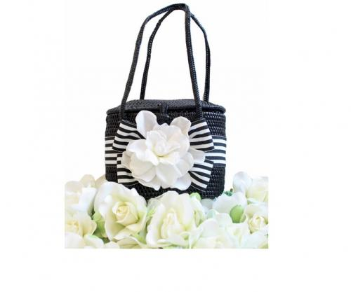 Small Bali Bag Bow and Gardenia Flower  Apparel & Accessories > Handbags > Clutches & Special Occasion Bags