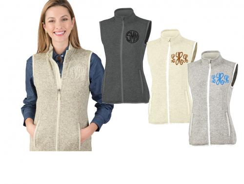 Woman's Sweater Vest monogrammed Four Colors by Charles River  Apparel & Accessories > Clothing > Outerwear > Vests