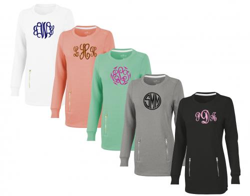 Monogrammed Charles River North Hampton Ladies Sweatshirt  Apparel & Accessories > Clothing > Activewear > Sweatshirts