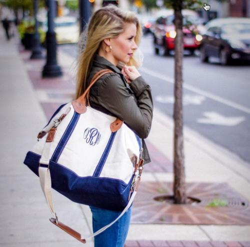 Monogrammed Weekender Bag with Navy Trim   Luggage & Bags > Suitcases > Carry-On Luggage