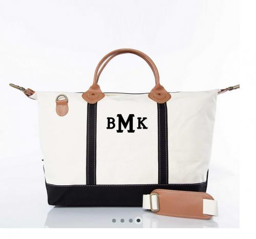 Monogrammed Black Trim Weekender   Luggage & Bags > Duffel Bags