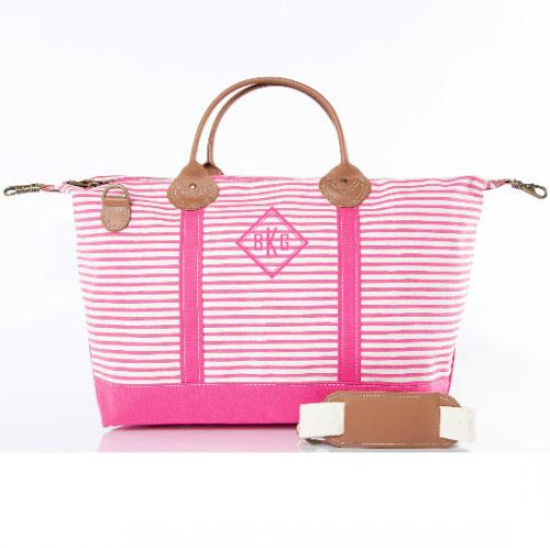 Monogrammed Hot Pink Stripes Weekender Bag   Luggage & Bags > Duffel Bags