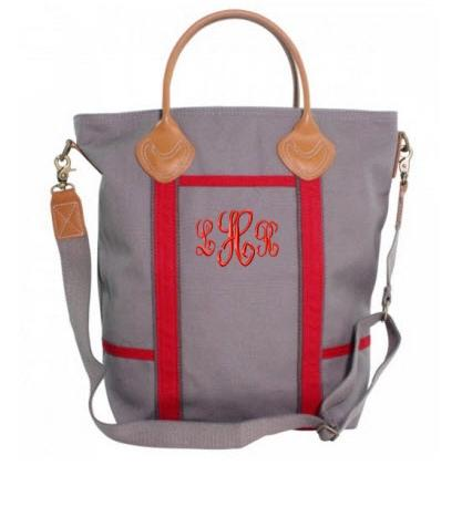 Monogrammed Flight Bag in Gray and Red   Luggage & Bags > Messenger Bags