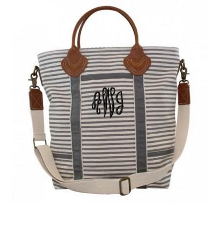 Monogrammed Shoulder Bag in Gray Stripes   Luggage & Bags > Duffel Bags