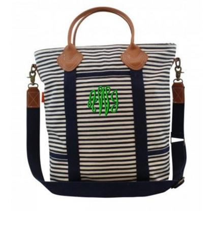 Monogrammed Shoulder Bag Navy Stripes   Luggage & Bags > Messenger Bags