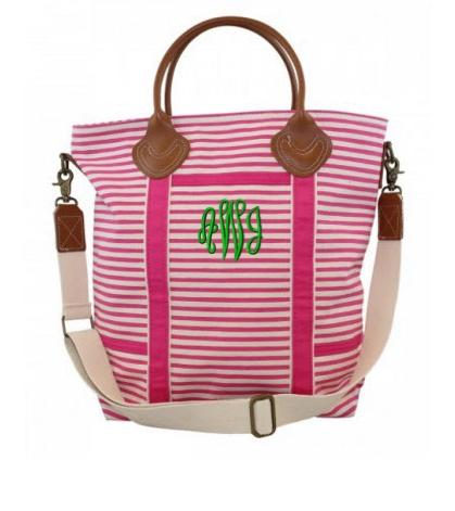 Monogrammed Flight Bag in Pink Stripes   Luggage & Bags > Duffel Bags
