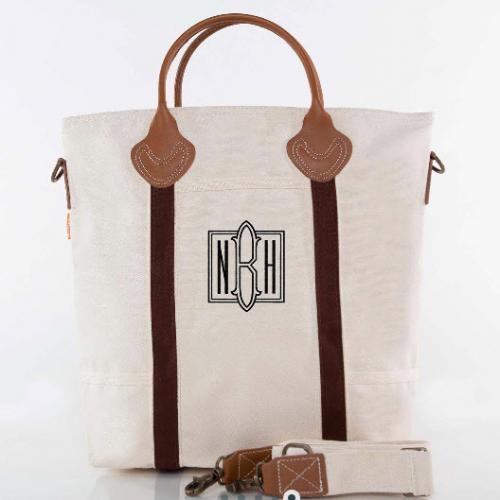 Monogrammed Shoulder Tote in Brown Trim   Luggage & Bags > Suitcases > Carry-On Luggage