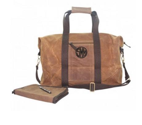 Monogrammed Voyager Weekender Duffel Waxed Canvas Bag   Luggage & Bags > Duffel Bags