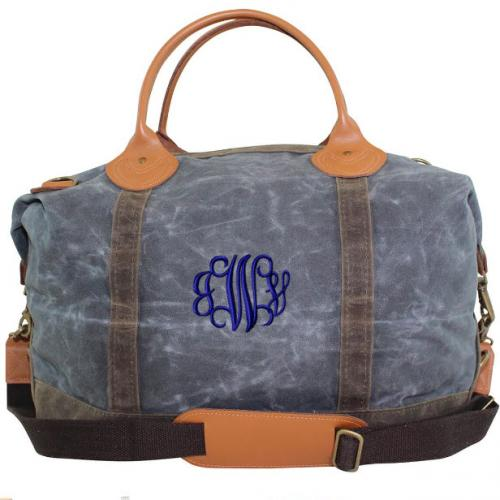 Monogrammed Weekender Waxed Canvas Duffel   Luggage & Bags > Duffel Bags