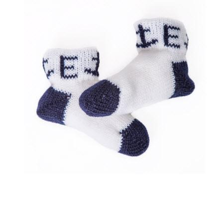 Monogrammed Knit Baby Booties with Anchors   Apparel & Accessories > Clothing > Baby & Toddler Clothing > Baby & Toddler Socks & Tights