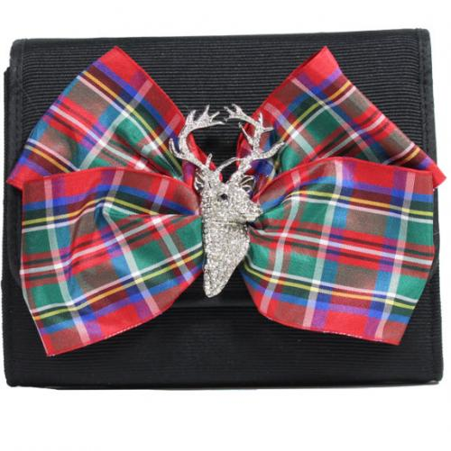 Evening Bag Plaid Bow with Stag  Evening Bag Plaid Bow with Stag  Apparel & Accessories > Handbags > Clutches & Special Occasion Bags