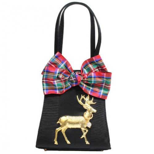 Holiday Plaid Bow and Deer Bag Holiday Plaid Bow and Deer Bag Apparel & Accessories > Handbags > Clutches & Special Occasion Bags
