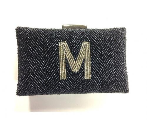 Monogrammed Hand Beaded Box Clutch  Apparel & Accessories > Handbags > Clutches & Special Occasion Bags