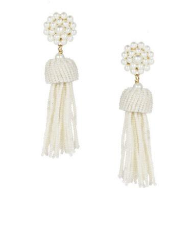 Lisi Lerch Pearl White Tassel Earrings   Apparel & Accessories > Jewelry > Earrings