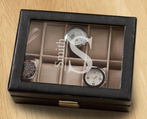 Personalized Black Leather Watch and Bracelet Box  Home & Garden > Household Supplies > Storage & Organization > Dresser Valets