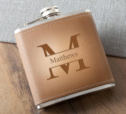 Monogrammed Tan Hide Stitched Flask  Home & Garden > Kitchen & Dining > Food & Beverage Carriers > Flasks