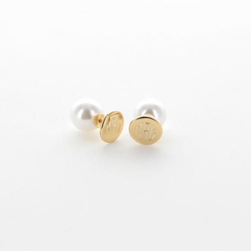 Monogrammed Pearl and Gold Disc earrings  Apparel & Accessories > Jewelry > Earrings