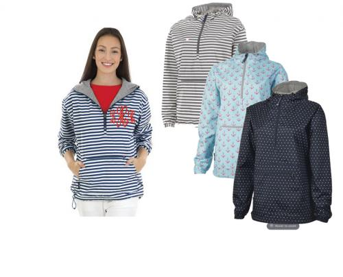 Ladies Navy and White Striped Pullover Monogrammed  Apparel & Accessories > Clothing > Outerwear > Rain Gear > Raincoats