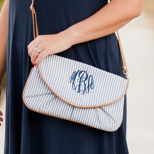 Monogrammed Navy Seersucker Clutch and Crossbody Bag  Apparel & Accessories > Handbags > Clutches & Special Occasion Bags