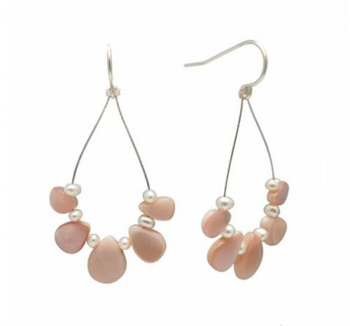 Pink Pearl and Mother of Pearl Breast Cancer Awareness Earrings Pink Pearl and Mother of Pearl Breast Cancer Awareness Earrings Apparel & Accessories > Jewelry > Precious Stones