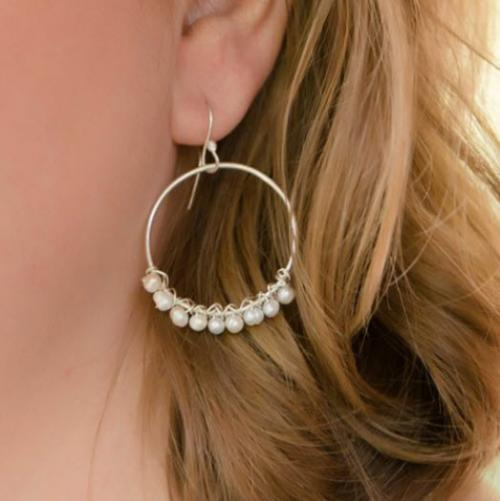 Cultured Pearl Medium Hoop Earrings Cultured Pearl Medium Hoop Earrings Apparel & Accessories > Jewelry > Precious Stones