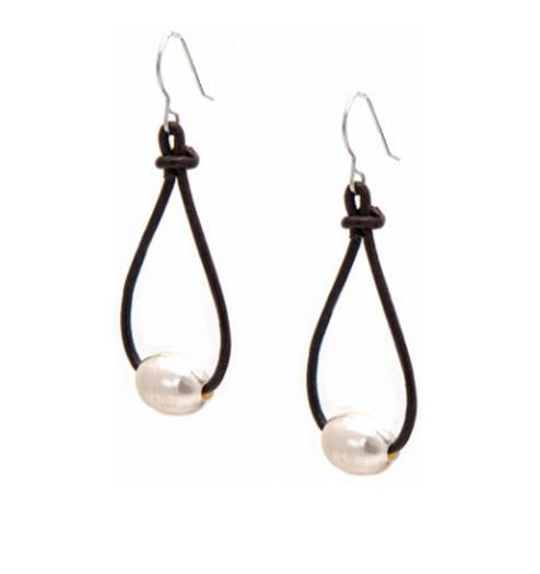 Pearl and Leather Teardrop Earrings  Apparel & Accessories > Jewelry > Precious Stones
