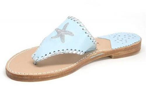 Starfish Palm Beach Classic Sandals in Sky and Silver  Apparel & Accessories > Shoes > Sandals > Thongs & Flip-Flops